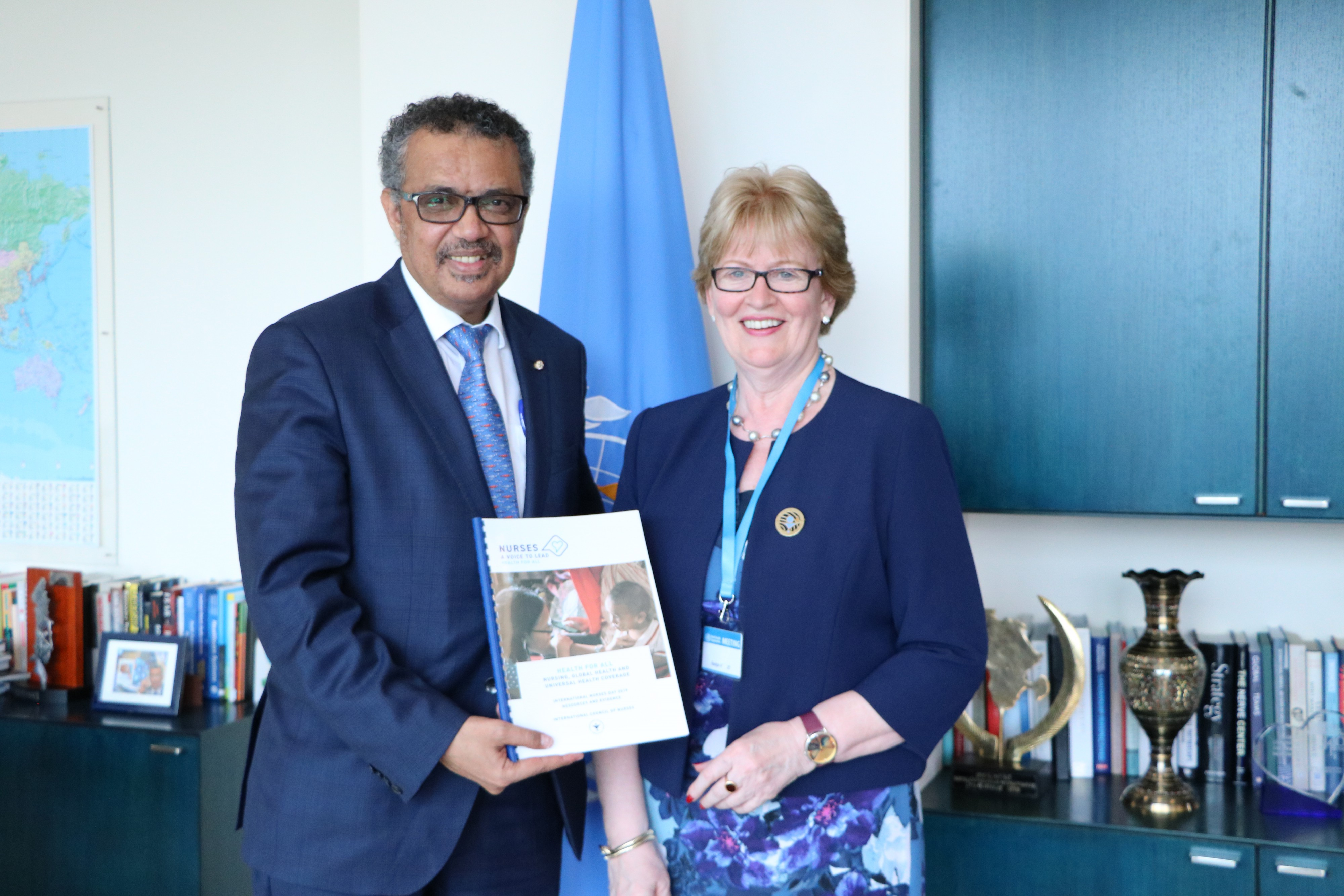 ICN President Annette Kennedy and WHO Director General Tedros Adhanom Ghebreyesus