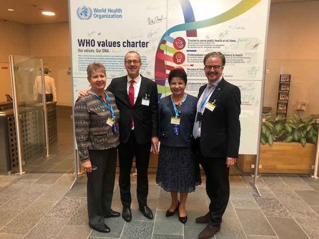 Dr Hans Kluge, the new Regional Director for WHO Europe, with ICN CEO Howard Catton (far right), EFNNMA Chair Valentina Sarkisova and Vice Chair Mervi Jokinen (right to left)